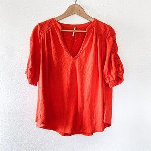 Free People NWOT Fever Dream Ruched Sleeve Shirt